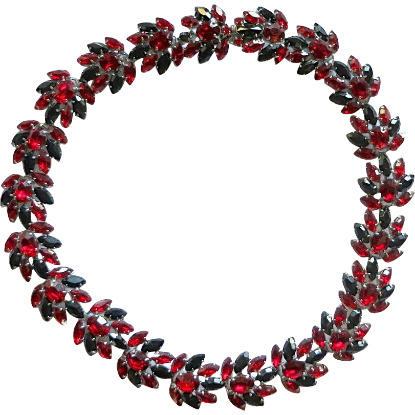 Ruby red and jet black rhinestone choker length necklace
