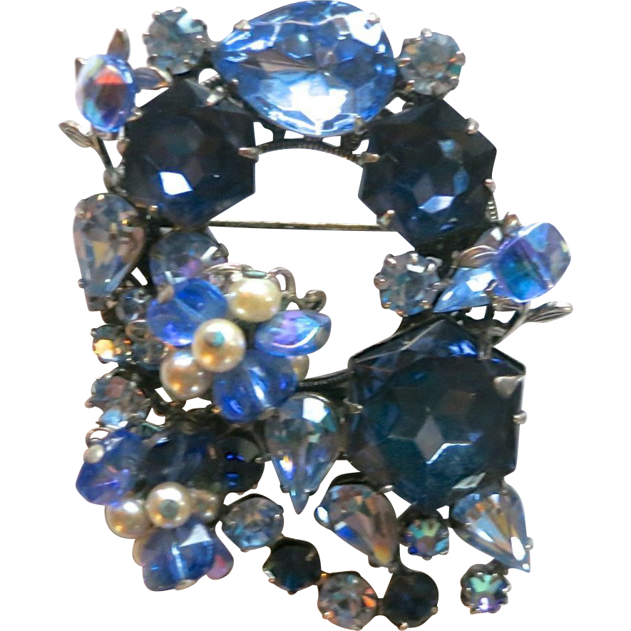 Original by Robert Blue Rhinestone & Faux Pearl Brooch