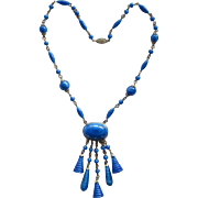 Czech Blue Faux Lapis Bead Dangle Necklace