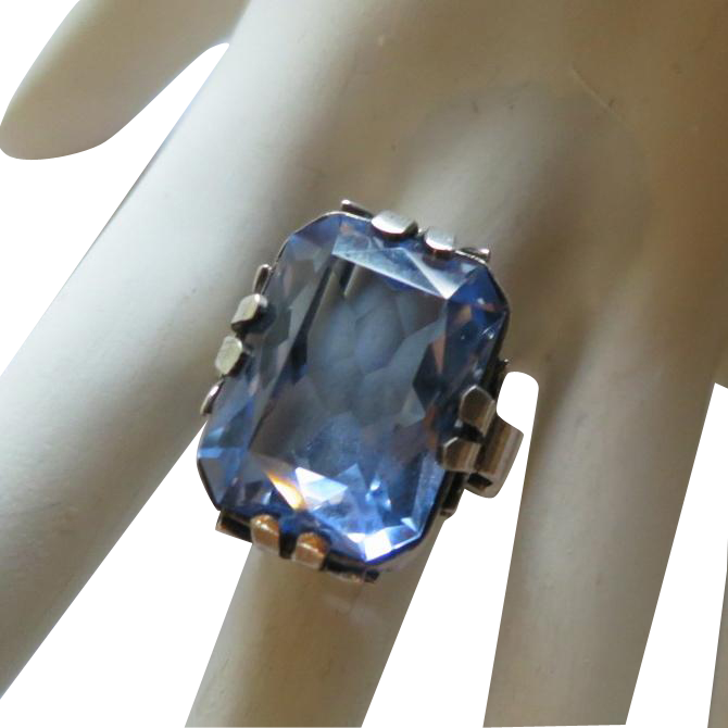 Synthetic Blue Spinel 800 Silver Ring 19-20 Carats