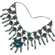 Boho Egyptian Revival Faux Turquoise Blue Glass Bib Necklace