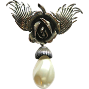 Botticelli Silver Tone Rose Faux Pearl Dangle Brooch