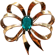 Boucher made in Mexico Rhinestone Retro Bow Pin