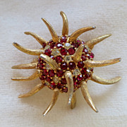 Boucher red & clear rhinestone anemone pin