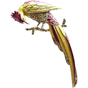 Vintage Boucher Enamel Rhinestone Bird on Branch Brooch