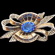 Vintage Boucher Sterling Phrygian Cap Blue Rhinestone Bow Brooch
