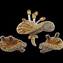 Vintage Boucher MultiColored Rhinestone Lily Floral Brooch Earrings Set