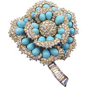 Vintage Boucher 1960s Faux Turquoise and Rhinestone Floral Brooch