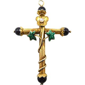 Vintage Brass Cross Pendant with Enamel Ivy Leaves and Onyx Beads