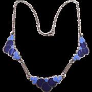 Art Deco 1930s Sterling Blue Enamel Bubbles Necklace