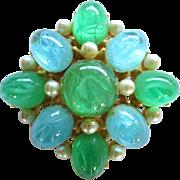 Vintage Cadoro Blue Green Art Glass Faux Pearls Brooch