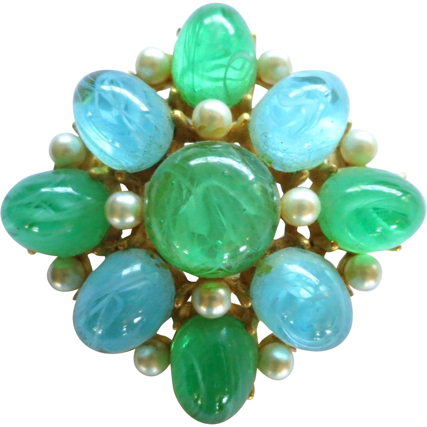 Vintage Cadoro Blue Green Art Glass Faux Pearls Brooch