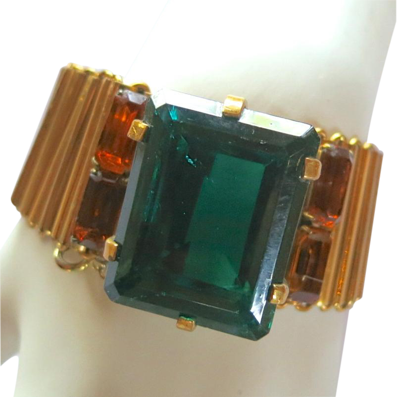 Calvaire 1940's Retro Emerald Green Glass Stone Bracelet