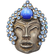 Vintage 1940s Cambodian Prince Buddha Style Rhinestone Face Brooch Book Piece