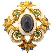 Vintage Hattie Carnegie Enamel Rhinestone and Glass Cabochon Brooch