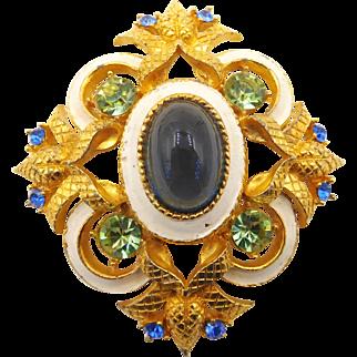 Vintage Hattie Carnegie Enamel Rhinestone and Glass Cabochon Brooch