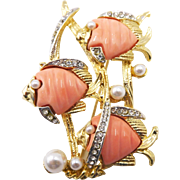 Vintage Figural Carnegie Style Lucite Fish Brooch with Rhinestones and Faux Pearls