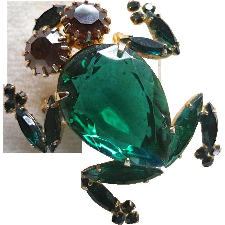 Alice Caviness Green Rhinestone Frog Brooch