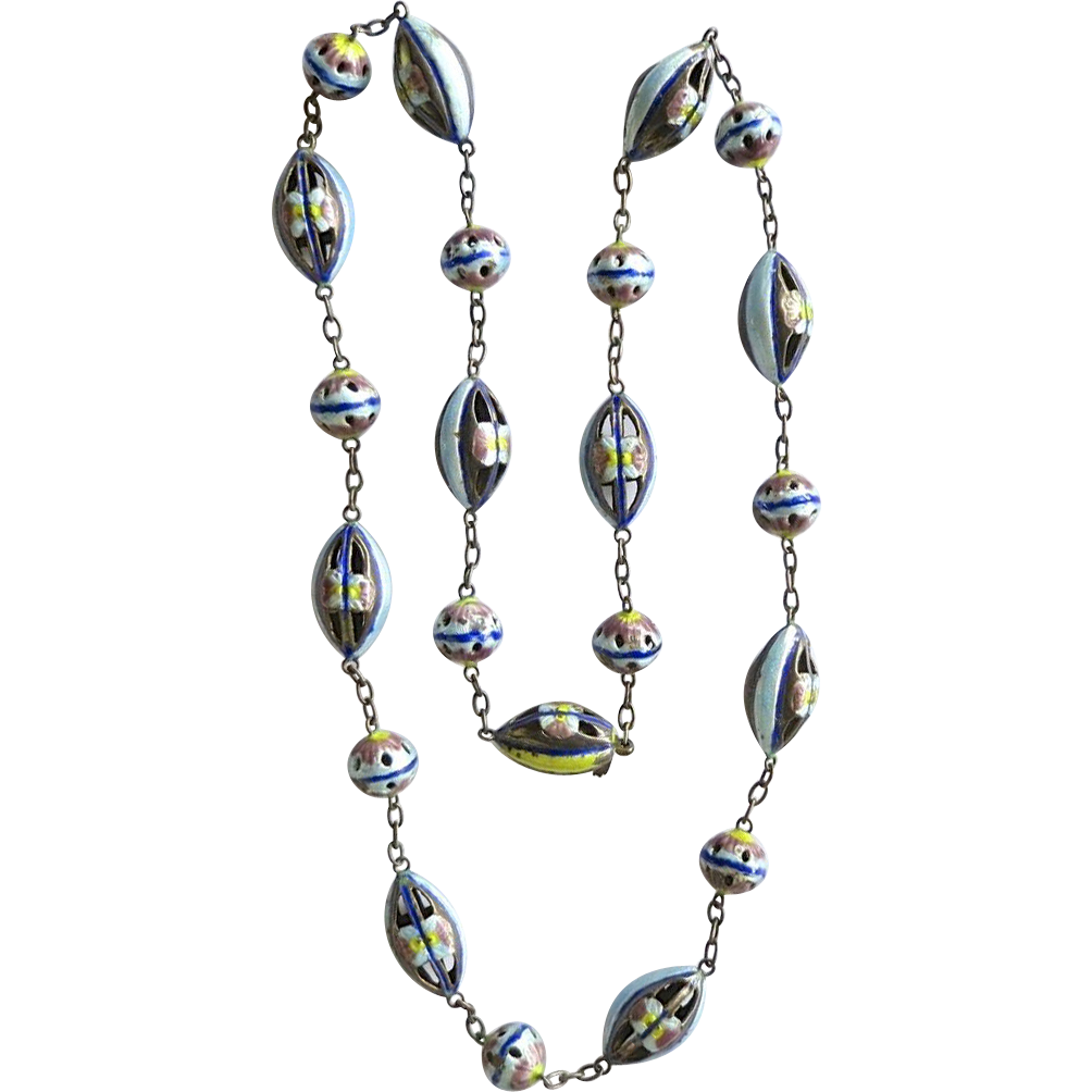 Vintage Chinese Silver Gilt Enamel Beads Necklace