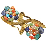 RESERVED!!!  Vintage Chinese Export Gilt Brass Semi-Precious Stones Brooch