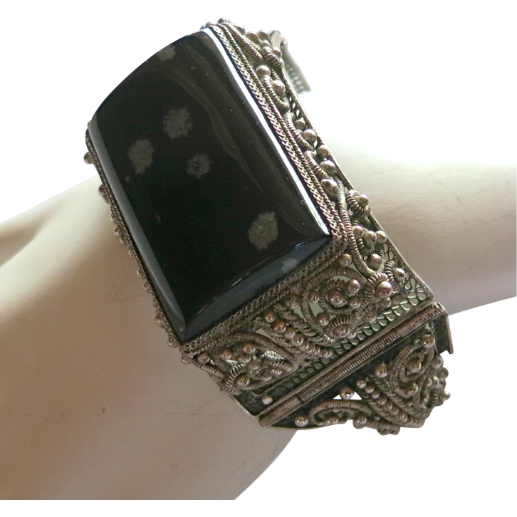 Ornate Chinese Silver Cannetille Style Bracelet with Snowflake Obsidian