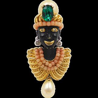 Vintage Ciner Enamel Blackamoor Brooch with Faux Pearls Rhinestones Faux Coral Beads