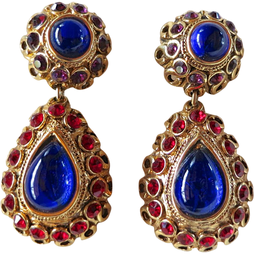 Vintage Claire Deve Paris Couture Blue Cabochon & Rhinestone Earrings 1980's