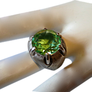Clark & Coombs Sterling and Green Glass Ring Size 7