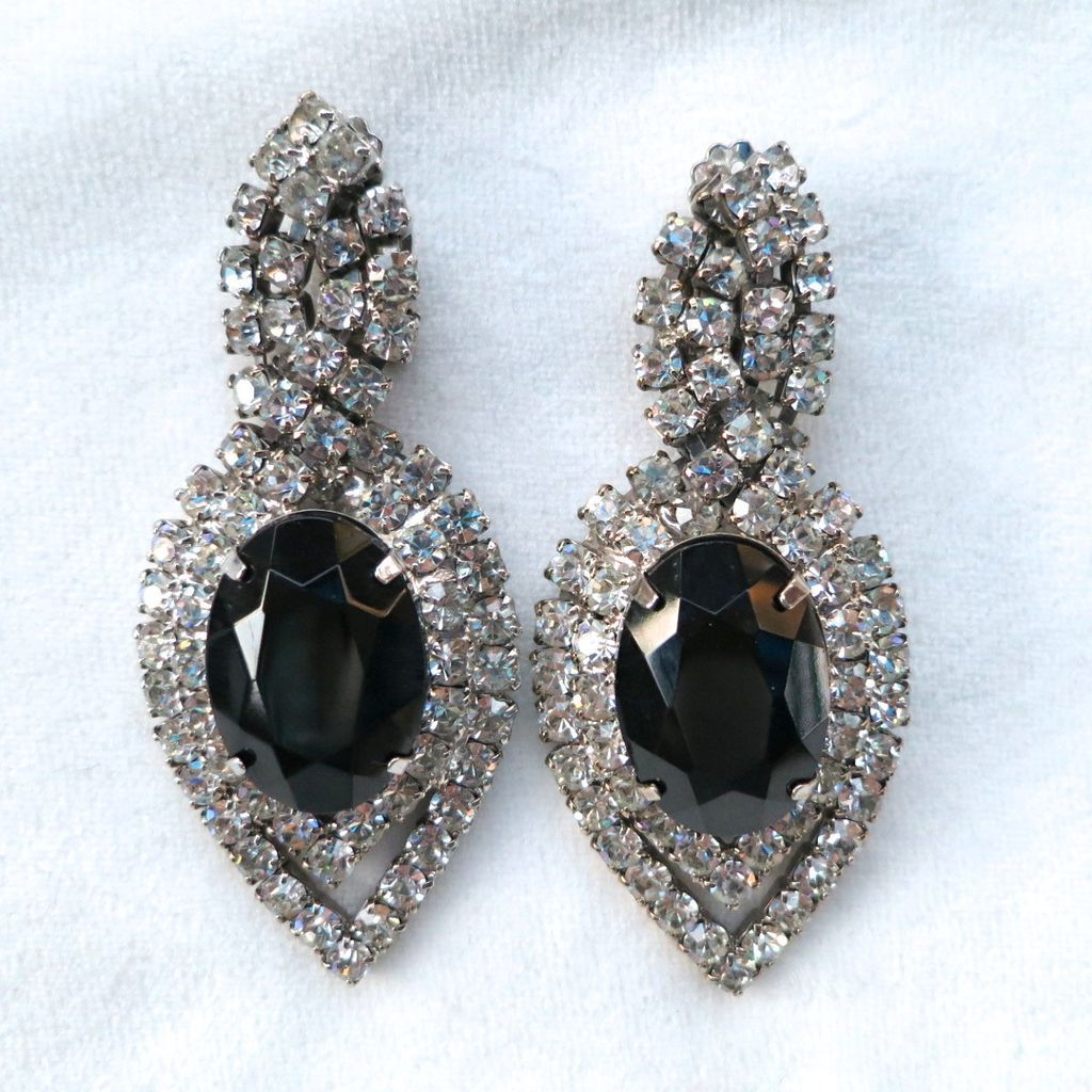 Huge clear & jet black rhinestone clip earrings