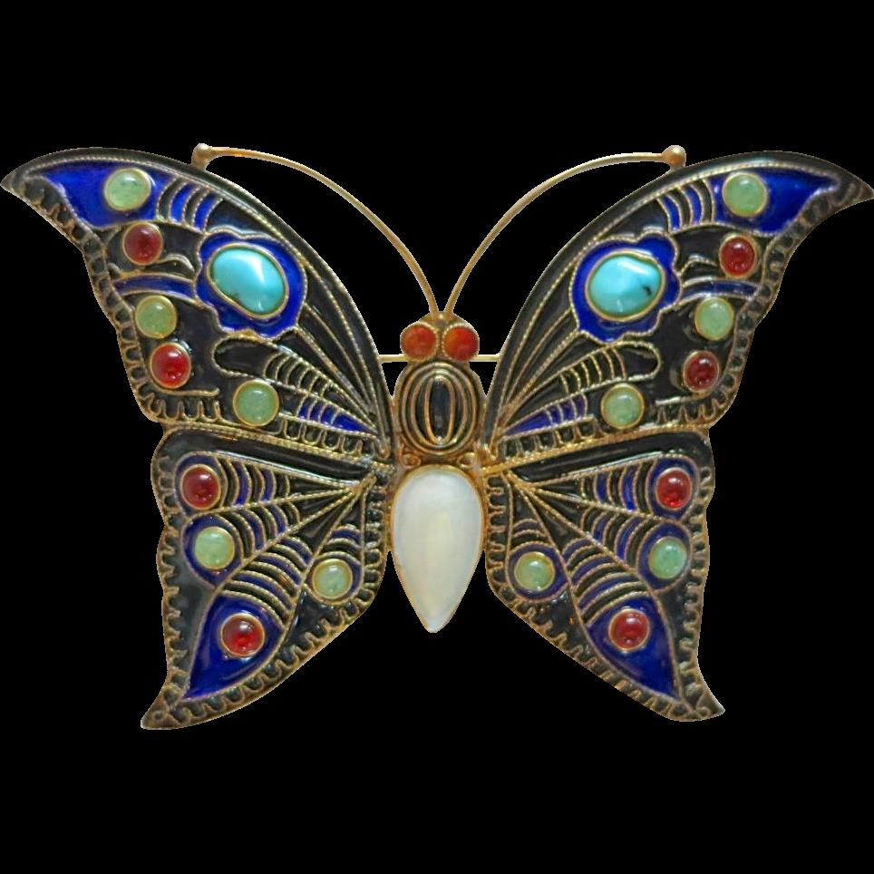 Vintage Cleo MMA Sterling Enamel Semi-Precious Stones Butterfly Brooch