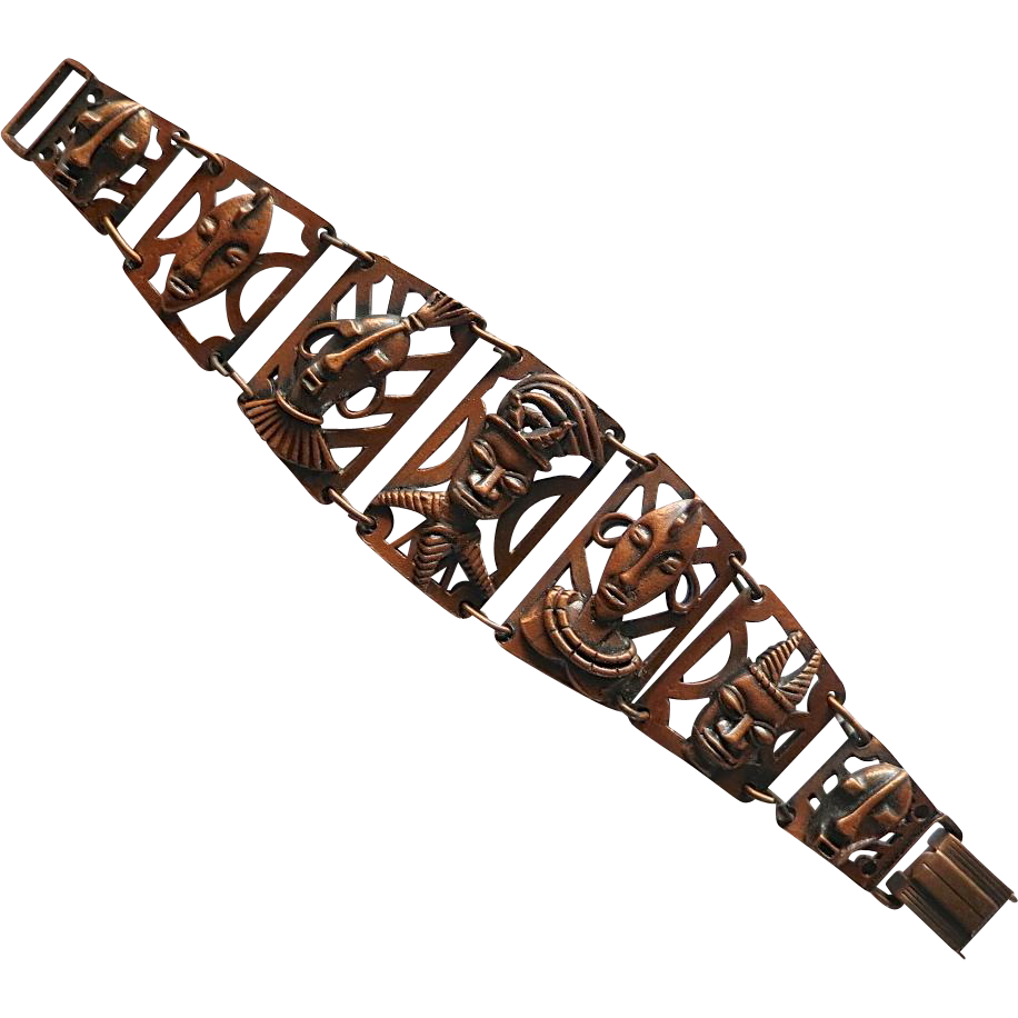 Copper Tribal Faces Masks Bracelet