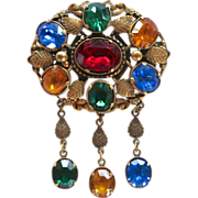 Coro Pegasus 1940's Ornate Rhinestone Dangle Pin