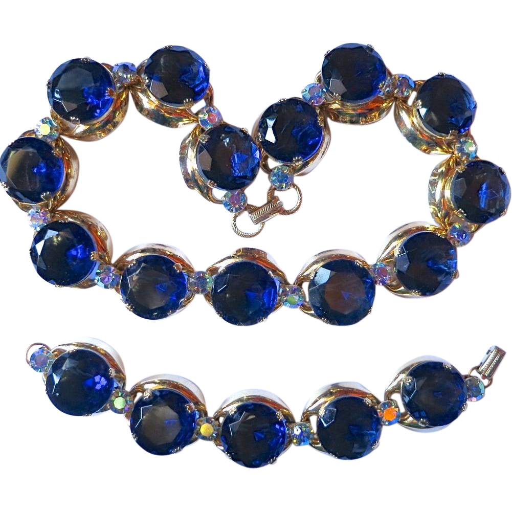 HUGE Coro Blue Headlight, AB rhinestone Necklace & Bracelet