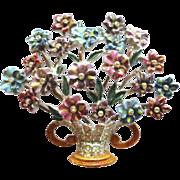 Vintage 1940's Coro Enamel Flower Basket Brooch