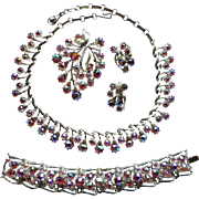 Vintage Coro Pink AB Rhinestone Necklace Bracelet Brooch Earrings Set
