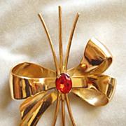 Coro 1940's red rhinestone spray brooch