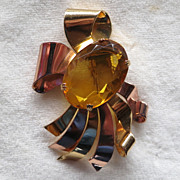 Large Coro faux citrine crystal ribbons fur clip