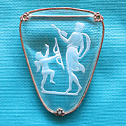 Cupid & Venus Intaglio Glass Brooch