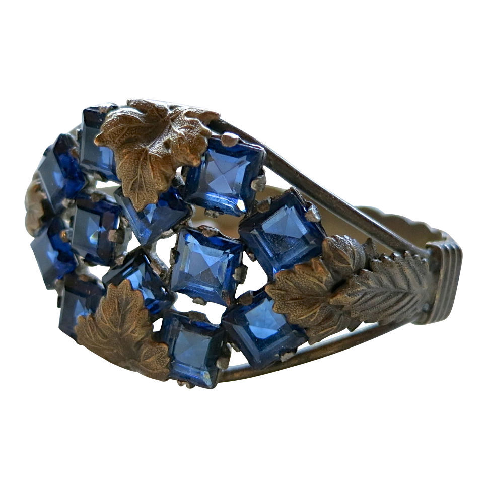 Czech hinged bracelet with blue glass stones and leaves