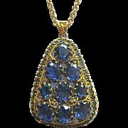 Vibrant Blue Rhinestone Czech Pendant Necklace