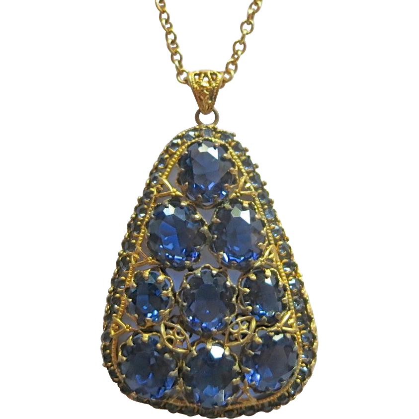 Vibrant Blue Rhinestone Czech Pendant Necklace