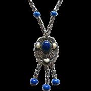 Czech Faux Lapis Beads Dangle Pendant Necklace