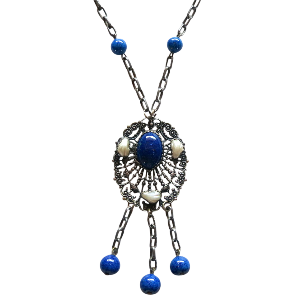 Czech Faux Lapis Beads Dangle Pendant Necklace