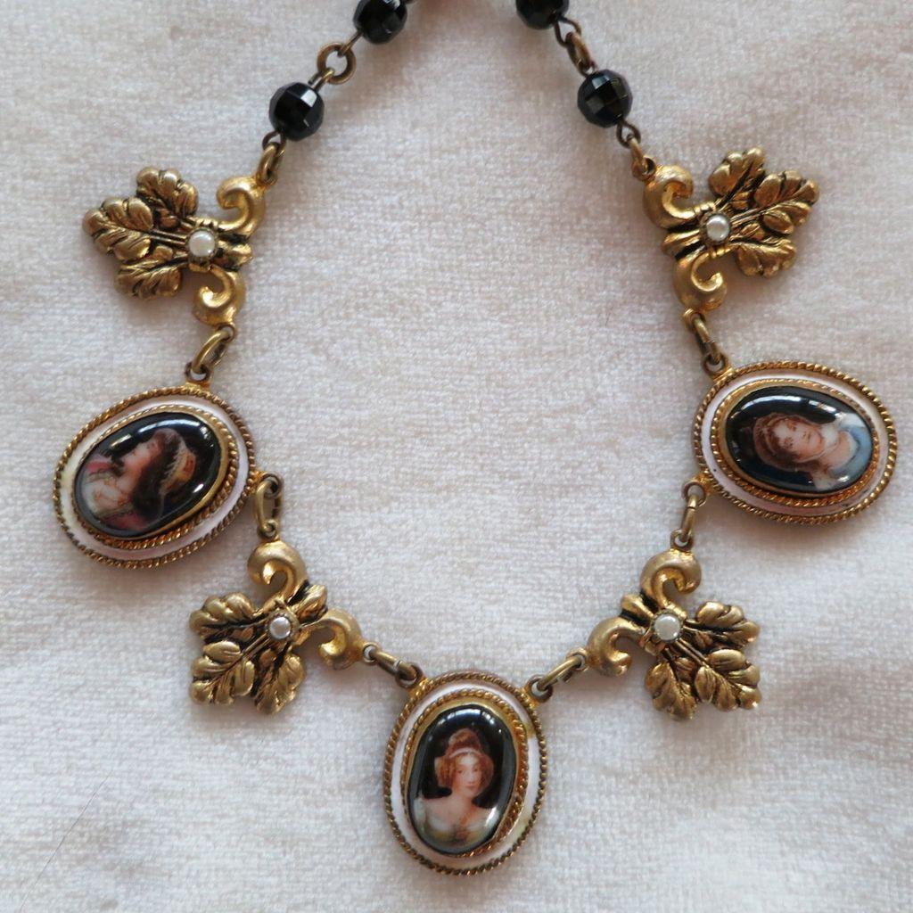Vintage Czech Enamel Portrait Necklace