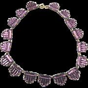 Art Deco Czech Amethyst Purple Mirror Glass Step Necklace Vauxhall Style