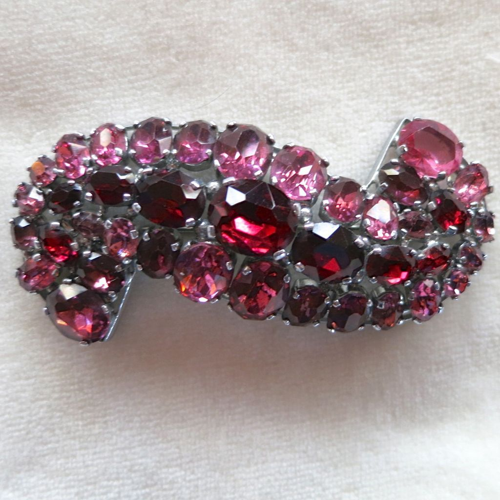 Stunning red, pink, and purple rhinestone Czech brooch