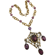 Vintage Czech Brass Necklace Snake Motif with Amethyst Glass Drops