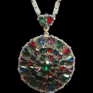 Vintage Czech Style Large Rhinestone Pendant Necklace