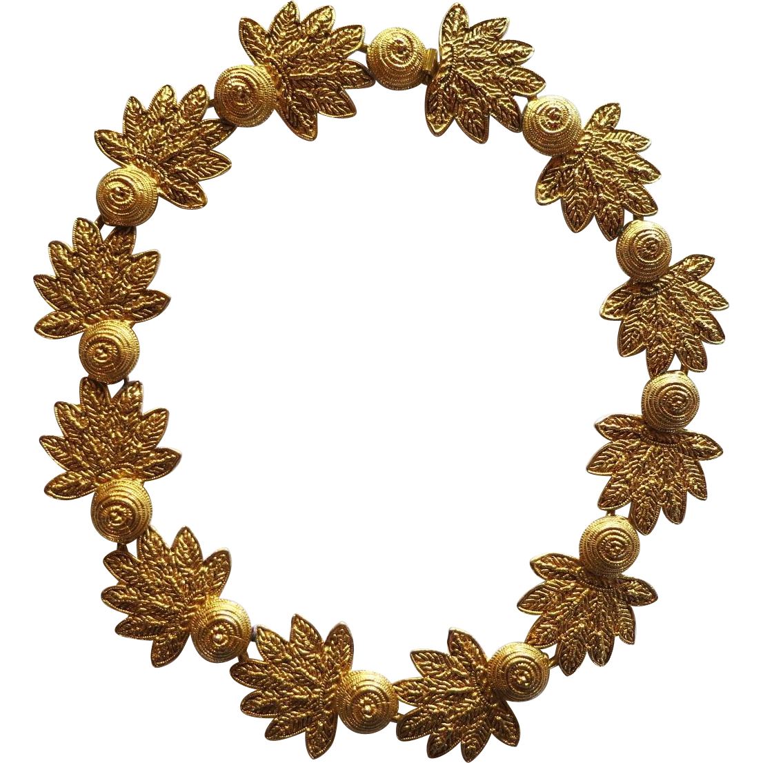 Vintage Dauplaise Gold Tone Leaves Necklace