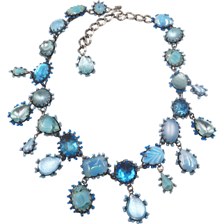 Vintage DeLuxe NYC A'dam Aqua Blue Rhinestone Necklace 1980s